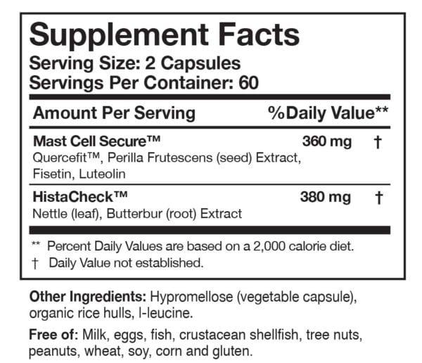 HistaQuel-supplement-facts