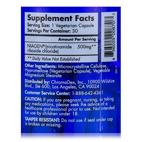 Tru Niagen® Pro 500 mg - 30 Vegetarian Capsules Supplement Fact