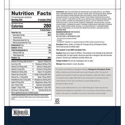 Ketogenic-Shake-supplement-fact