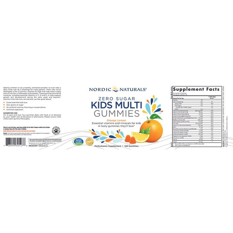 Zero Sugar Kids Multi 120 Gummies Label